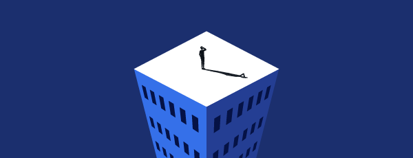Illustration man standing on top of building