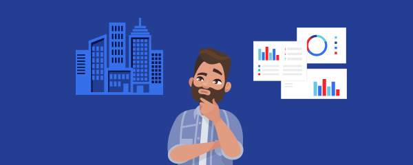 Illustration man thinking about property and data