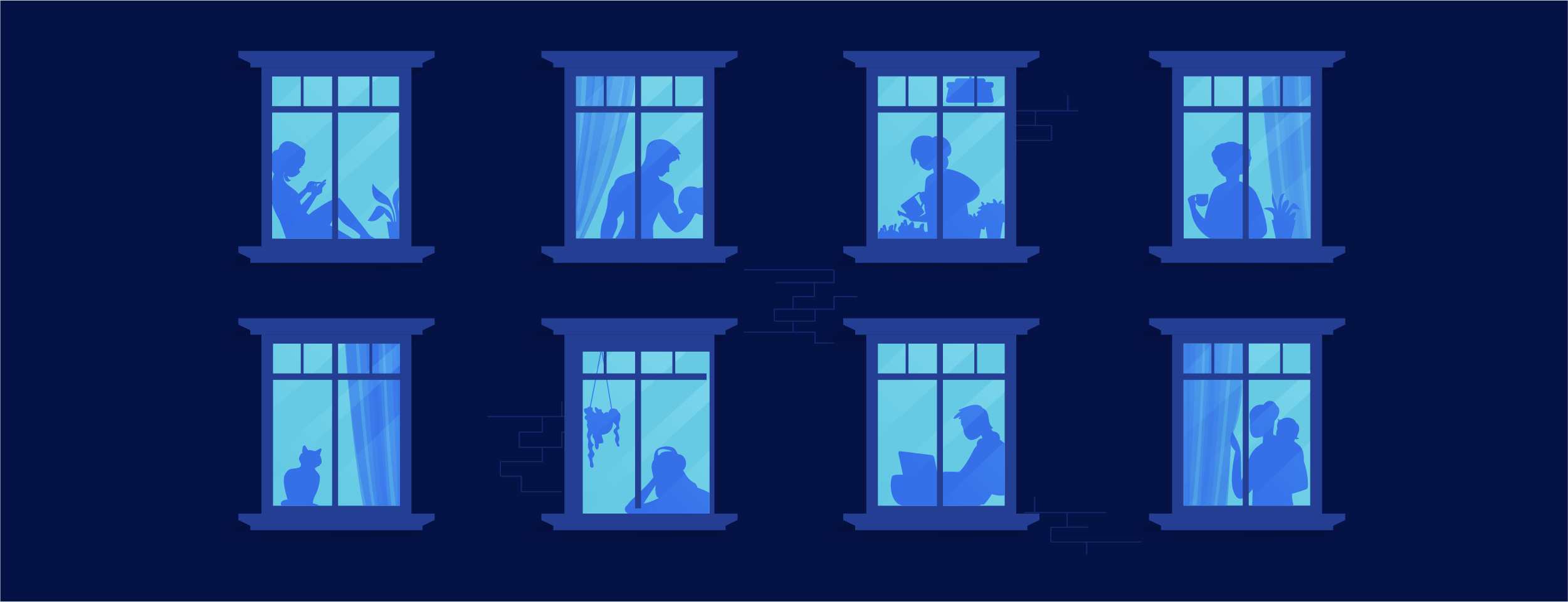 Illustration windows of an apartment with silhouettes of tenants